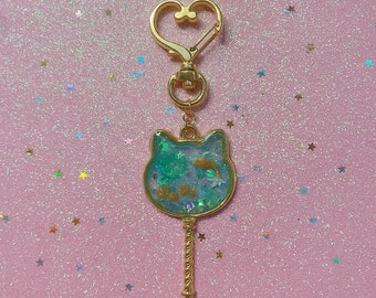 Gold Framed Koi/Goldfish Pond Resin Keychain