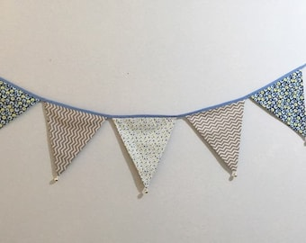 Fabric flag banner, Kids room decor banner, Nursery decor, Fabric bunting banner,bells garland for Teepee,party decor