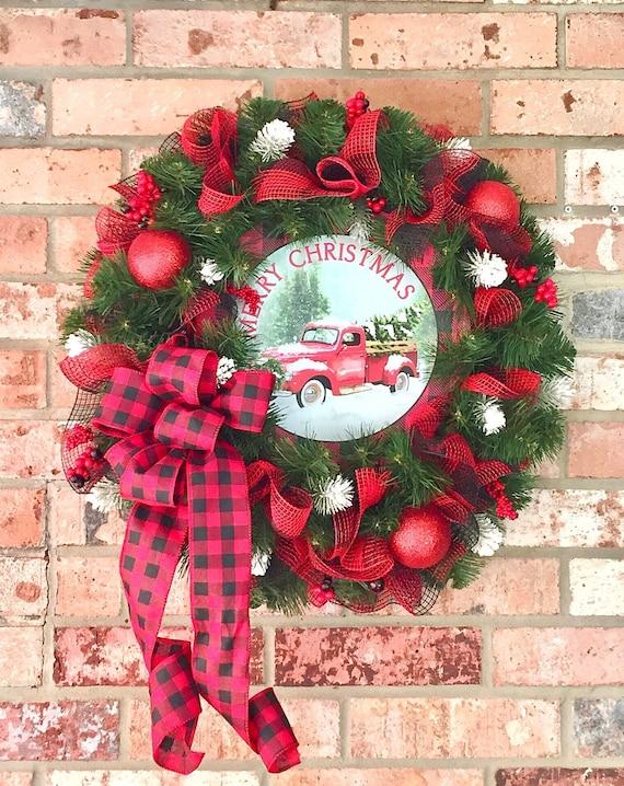 Christmas In Evergreen Truck.Evergreen Christmas Wreath Truck Christmas Wreath Christmas Wreath Buffalo Plaid Ribbon Farmhouse Christmas Wreath Winter Wreath