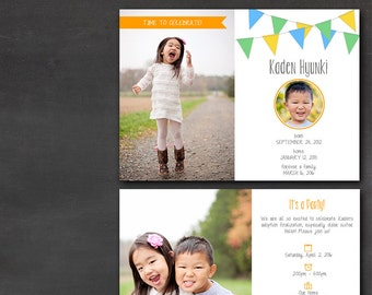 Adoption Announcement/Party Invitation (Set of 50+) - Colorful Bunting