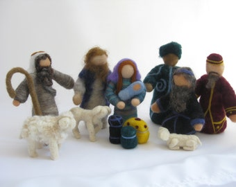 Basic Christmas nativity set, needle felted wool miniatures, Waldorf inspired; Holy Family, Shepherd, 1 sheep, 2 lambs, & 3 wisemen w/ gifts