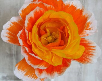 Large Orange Paper Peony Paper Flowers Wedding Bouquet