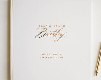 wedding guest book, wedding guestbook, foil guest book, guest sign in, custom guestbook, personalized journal -Little Carabao Studio #EL104F
