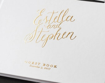 wedding guest book, wedding guestbook, foil guest book, guest sign in, personalized, gold foil guest book - Little Carabao Studio - #PC104F