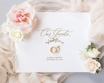 wedding guest book, wedding guestbook, foil guest book, guest sign in, custom guestbook, personalized journal -Little Carabao Studio #VR104F
