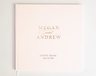 wedding guest book, rosegold guestbook, foil guest book, photobook, guest sign in, personalized - Little Carabao Studio #CM104F