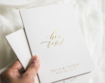 personalized vow book, wedding vow book, vow book set, vow books, foil vow book, vow booklet - Little Carabao Studio #FO01VBF