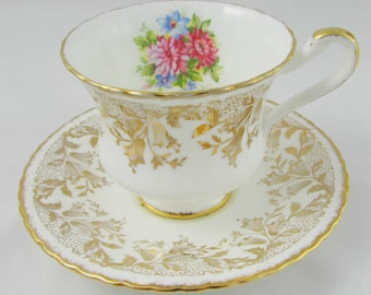 Paragon Tea Cup and Saucer with Gold Bell Flowers and Flower Bouquet, Vintage Tea Cup, Bone China