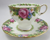 Paragon quot Tapestry Rose quot Tea Cup and Saucer Set, Vintage Bone China, Paragon Cup and Saucer, Double Warrant