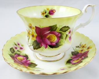 Royal Albert Yellow Tea Cup and Saucer with Pink Rose, Vintage Bone China