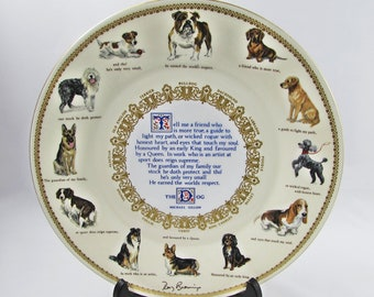 Dog Plate, Gift for Dog Lovers, Dog Poem Plate, Vintage Cabinet Plate, Large Plate, 10.75 Inches