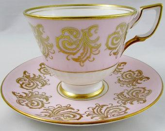 Vintage Royal Tuscan Pink Tea Cup and Saucer, Fine English Bone China