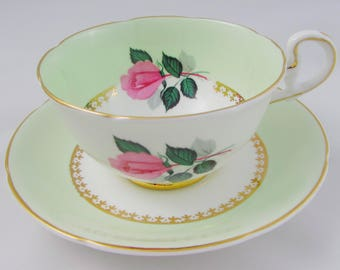 Green Tea Cup and Saucer by Royal Grafton with Pink Rose, Vintage, English Bone China