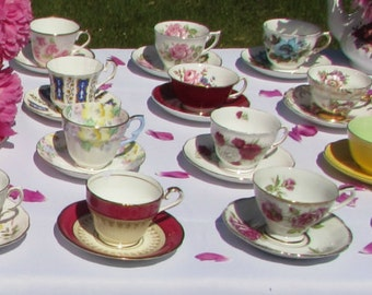10 vintage tea cups and saucers for tea party wedding baby shower bridal shower favors teacups and saucers
