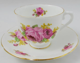 Vintage Tea Cup and Saucer by Stanley, with Large Pink Roses, Bone China