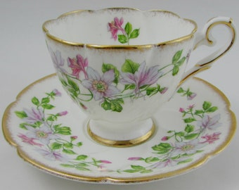 """Vintage Tea Cup and Saucer by Royal Stafford """"Columbine"""" Pattern with Flowers, English Bone China"""