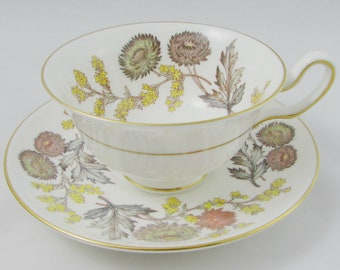 """Vintage Wedgwood """"Lichfield"""" Tea Cup and Saucer, Vintage Teacup and Saucer, English Bone China, Lichfield W4156"""