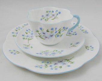 Shelley Blue Rock Cup and Saucer Trio, Teacup, Saucer, and Plate, Vintage Bone China