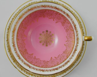 Royal Grafton Pink Tea Cup and Saucer with Gold Flowers, Vintage Bone China