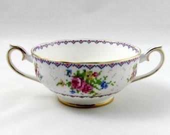 Petit Point China Soup Bowl, Bouillon Bowl, Double Handled Soup Bowl, NO Saucer Soup Bowl ONLY, Royal Albert Vintage Bone China