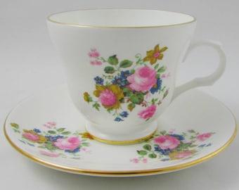Sadler Wellington Tea Cup and Saucer with Flowers, Vintage Bone China, Sadler Cup and Saucer
