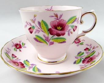 Vintage Tuscan Pink Tea Cup and Saucer with Pink Flowers, Fine English Bone China