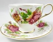 Paragon quot Golden Emblem quot Tea Cup and Saucer with Roses, Double Royal Warrant, Vintage Tea Cup, Bone China