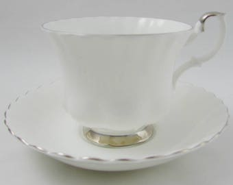 Royal Albert Chantilly Tea Cup and Saucer, White with Silver Trim, Vintage Bone China