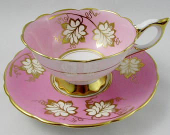Royal Stafford Tea Cup and Saucer, Pink with Gold Leaves, Vintage Bone China