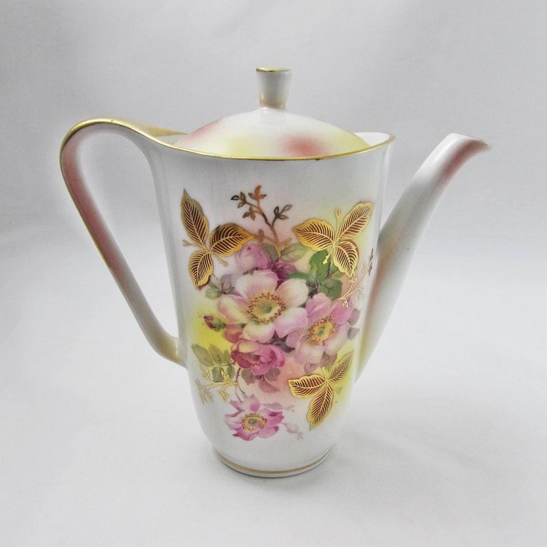 Schumann Arzberg Small Coffee Pot 6.5 Inches Tall Wild Rose Pattern Vintage Teapot Bavaria Tea Pot Germany Bone China Teapot