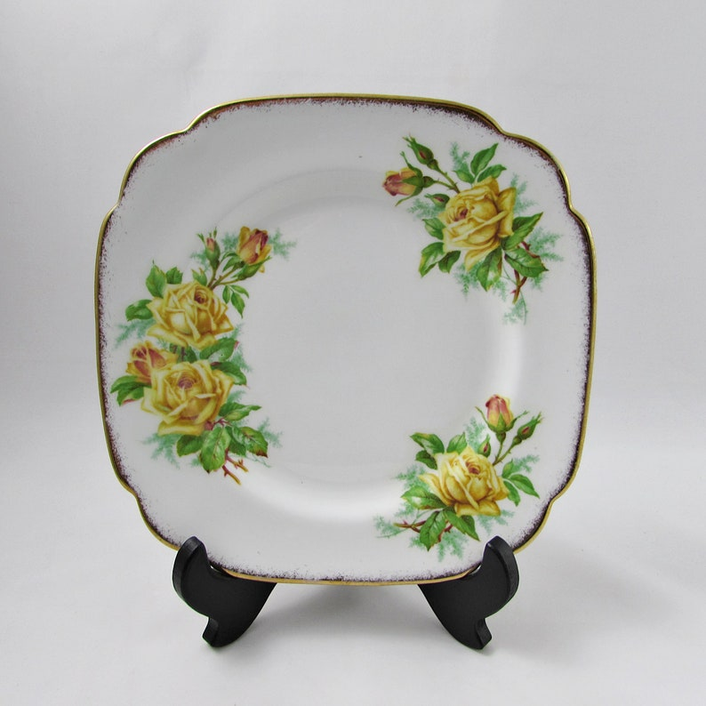 Single Plate Vintage Royal Albert Tea Rose Square Salad Plate 8 Inches Yellow Roses