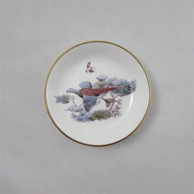 Royal Worcester Vintage Bone China 4 Inches Trinket Dish with Bird