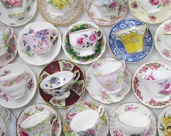 20 Tea Cups and Saucers, Vintage Tea Sets, Mismatch Bulk Teacups, Perfect for Tea Party Favors, Baby Shower, Bridal Shower, Bridal Tea Party