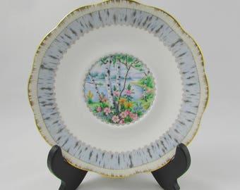Silver Birch Gravy Under Plate, Gravy Tray, 6.75 inches, Royal Albert Vintage Bone China, Replacement Piece