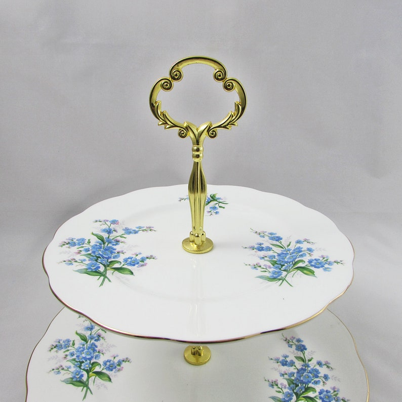 Royal Albert Forget Me Not Pattern with Ultra Heavy Fittings 2 Tier Cake Stand Set Large Size Perfect for Weddings and Cupcakes