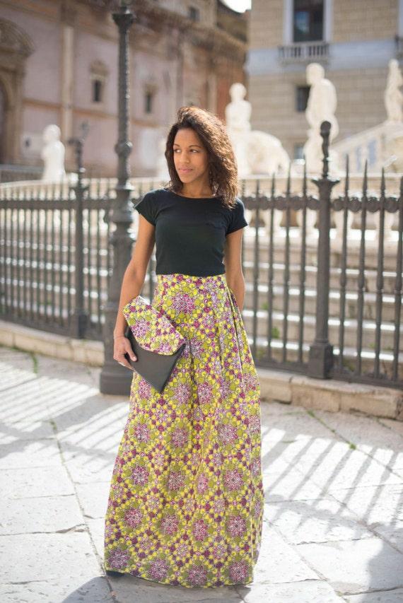 nuovo di zecca 2ca54 44562 Gonna lunga in stoffa africana/ Women's long skirt in African Fabric / long  skirt