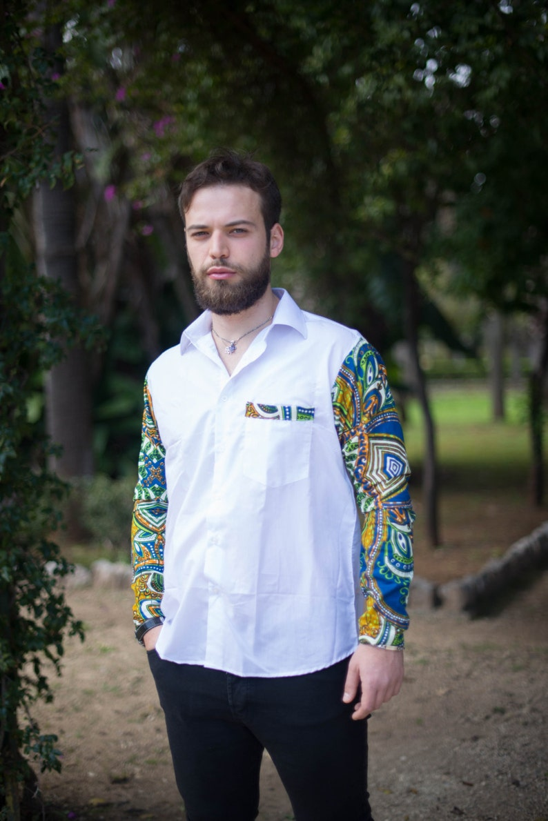 Long-sleeved man shirt in STOFFA AFRICANA/ Shirt with long image 0
