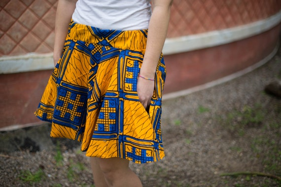 GONNA A RUOTA in stoffa Africana  Women/'s flared skirt in African Fabric