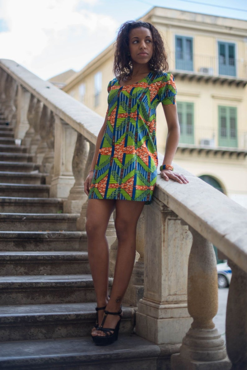 African fabric short dress / short dress in African fabric / image 0