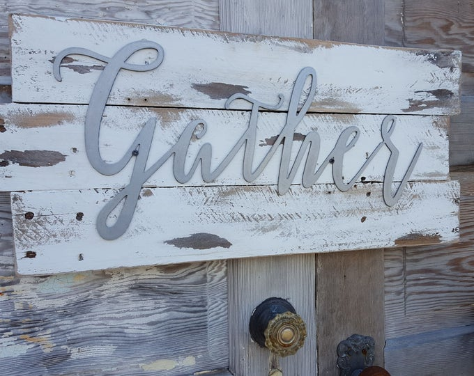 Gather, Word Signs, Metal Word Signs, Farmhouse Decor, Rustic Sign, Fixer Upper Style, Rustic Decor, Country Farmhouse Sign, Shabby chic art