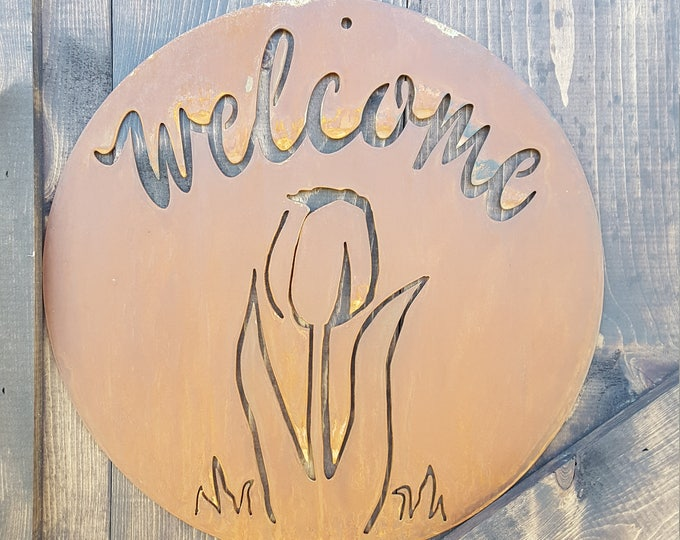 Tulips, Spring Decor, Farmhouse Rustic Sign, Garden Metal Sign, Welcome sign, Mothers Garden gift, Fixer Upper style, Nature, Easter