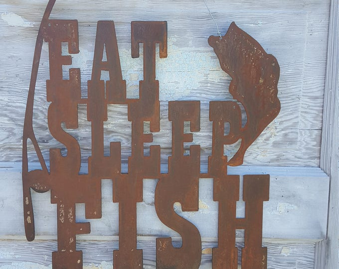 Eat Sleep FISH, fishing Decor, Rustic Farmhouse style Decor, Country Style, Fixer Upper, Mancave Wall Art, Woodland Nursery, Boys Room, Bass
