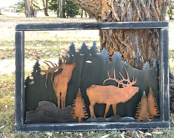 Rustic wildlife wood Sign, Mountain decor, Elk Decor, Rustic Decor, Farmhouse Decor, Hunting decor, Rustic Home Decor, Cabin Decor, Trees