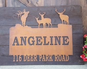 Rustic Custom Metal Address Sign |Elk | Deer |Family Name | Driveway Property Name | House Numbers | Cabin -Ranch sign | Buck Home decor