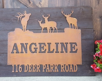 Rustic Custom Metal Name Sign, Elk, Deer, Address, Welcome, Driveway, House Numbers, Family Name, Hunting, Wildlife, Country Style, Woods