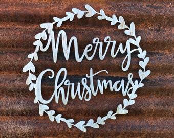 Merry Christmas sign | Farmhouse Christmas Decor | Holiday Decor | Farmhouse style | Metal Wall Art | Rustic Christmas Signs | Laurel wreath