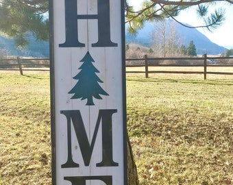 Large HOME sign with Christmas Tree | Winter Decor | Farmhouse decor | Christmas decor | Rustic Holiday sign | Porch decor sign | Wood Sign