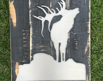 Hunting Sign, Elk, Buck, Outdoor Rustic Decor, Farmhouse Style, Man Cave, Woodland Nursery Cabin, Boys room art, Wildlife nature
