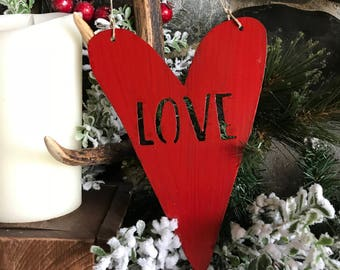 LOVE Heart Metal Decor | Metal Heart | Rustic Home decor | Valentines Day Decor | Rustic Hearts | Wedding Decor or Gift | Anniversary