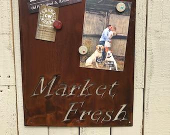 Market Fresh Magnet Board, Magnetic Boards, Bulletin boards, Office Message Board, Rusted Metal, Market Sign, Rustic Organizational Board